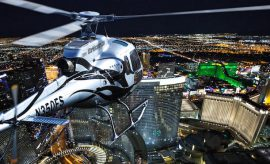 in helicopter above Vegas